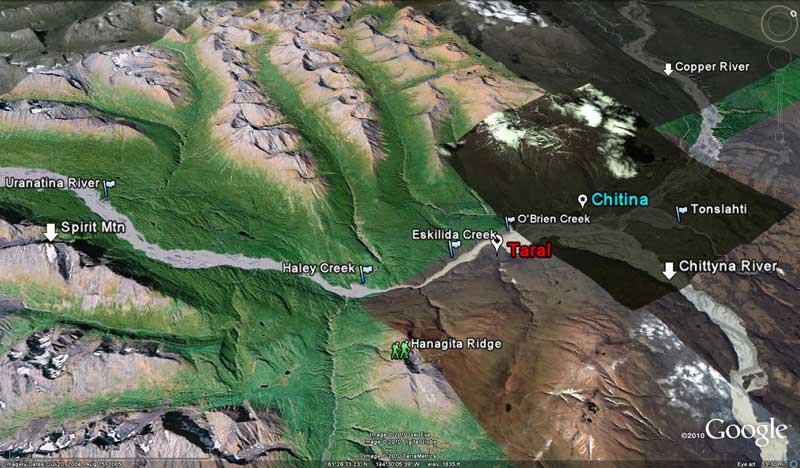 Google-Earth map of Chitina area